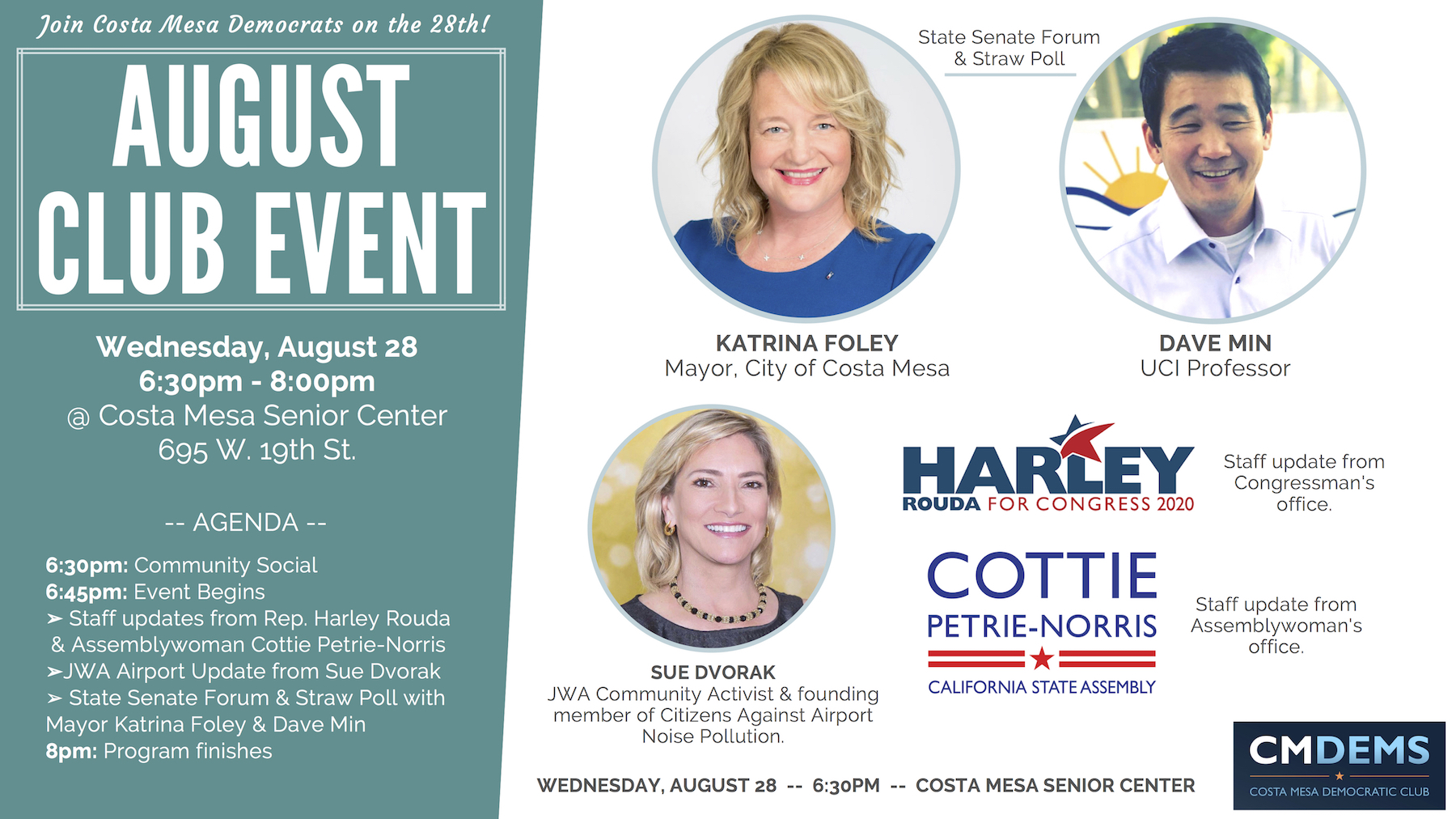 Costa Mesa Democratic Club August 28 2019 Event Cover Democratic Party Costa Mesa